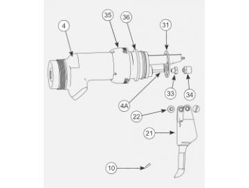 Pistolenkörper mit Nadel und Haltering für AA 90 Cascade