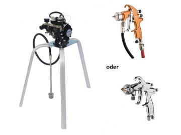 DX70 Membranpumpe mit Materialregler, 3 Luftreglern, Filter und 7,5m Luft- und Materialschlauch + Kessel-Spritzpistole