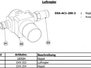 Air regulator for 3:1 DX200