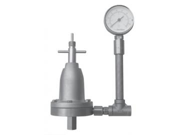 Inline Materialdruckregler mit Manueller Regelung und Manometer