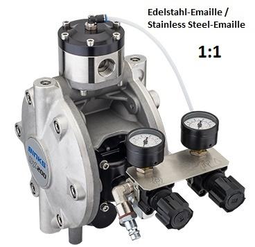 DX200 Membranpumpe - Edelstahl-Emaille, mit Aktivem Pulsationsdämpfer